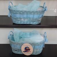 Keranjang Basket Rotan biru pita biru cocok u/hamper,babygift,souvenir
