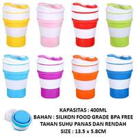 Gelas Lipat Silikon 400 ml BPA FREE   Gelas Lipat Untuk Dibawa Travel