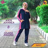 Setelan Olahraga Wanita Muslimah | Kaos & Celana Olahraga Berkualitas - Navy, L-XL