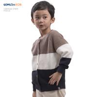 Sweater Rajut Anak Gomuda Kids Cardigan Stripe - Mocca