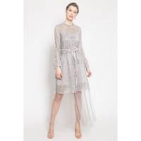 ATELIER MODE Cocktail Dress Maxi Length Pleated Tulle Skirt Bree Dress
