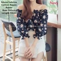 Blouse Katun Motif Bunga Model Sabrina Adem Hitam Navy/Pm Mona Flow