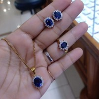 Set batu blue safir asli berlian eropa asli