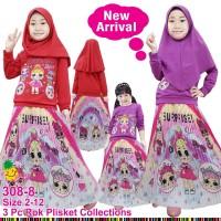 Baju Muslim Anak Little Pineapple LOL Love Sablon Pink Rok Plisket