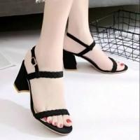 Sepatu sandal sendal wanita hak tahu big high heels suede j 01