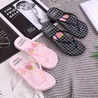 Sandal sendal wanita jepit flip flop flat teplek strowberry sgc 17