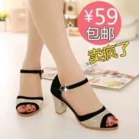 Sepatu sandal sendal hak tahu big high heels ir38