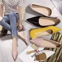 Sepatu wanita selop kerja flat shoes polos daff 19
