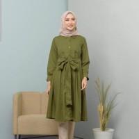 Fashion Muslim TUNIK SALMA POCKY KANCING MOSCREPE PREIUM Original
