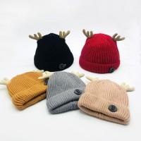 Topi Kupluk Rajut Anak Laki-Laki / Perempuan Desain Tanduk Rusa untuk