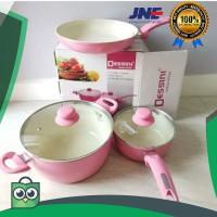 obral Panci Dessini Cookware Ceramic Pan 5 Pcs - Pink elegan