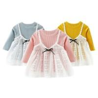 Promo Baby Girl Lengan Panjang Lace Princess Dress Cute Sweater Fake