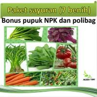 Paket benih sayuran 7 benih BONUS pupuk dan polibag