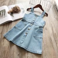 Baru Dress Denim Casual Bayi / Anak Perempuan Tanpa Lengan Tali