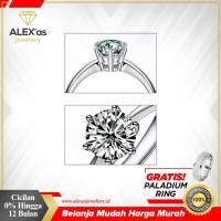 Cincin tunangan berlian eropa natural diamond emas 75% solitare asli
