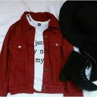 Jaket denim wanita warna merah maroon uk L