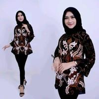 Baju Atasan Wanita Batik Modern Blouse Batik Wanita Kerja Mahkota
