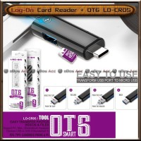 Card Reader OTG 3in1 Log On LO-CR05 Type-C USB Android Micro SD Ori HP