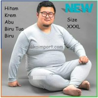 Baju Musim Dingin Pria, Long John Jumbo Big Size, Longjohn Tebal Cowok - Hitam