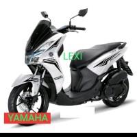 CUTTING STICKER YAMAHA LEXI motor putih sticker hitam