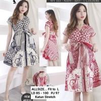 Dress Batik Wanita Kancing Depan/ Dress Batik Busui