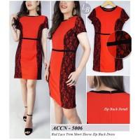 Dress Wanita Branded- 20839- 23de-Accent-mr- red lace trim short