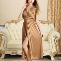 Long dress Slit Gaun Malam Bordir Cantik Baju Lebaran Lingerie jumbo