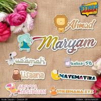 Desain 09 - Stiker Nama Tema hewan, outline cutting, up to 50pcs