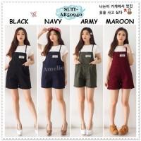 AB50940 Setelan Baju Kodok Jumpsuit Overall Celana Pendek Wanita Korea