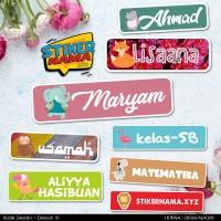 Desain 10 - Stiker Nama Tema hewan, cutting kotak, up to 50pcs