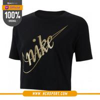 Pakaian Sneakers Nike Wmns Crop Glitter 2 Tee Black Original CI9368-01