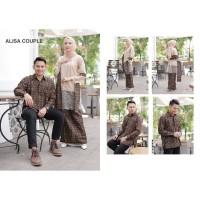 Baju Kebaya Couple Brokat Tile Mutiara Kemeja Lengan Panjang Batik