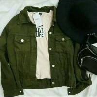 Jaket denim wanita warna hijau army. size XL