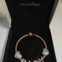 Pandora Bracelet Rose Gold with Charm Alphabet B A B Y Hearts