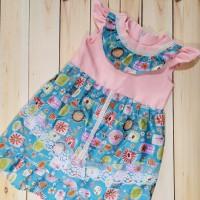 Baju dress bayi anak ruffled sleeves