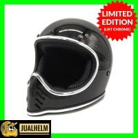 Helm Custom Cakil Moto 3 Hitam Glossy List Chrome (Bandit / Simpson )
