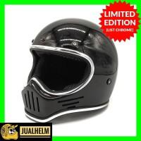 Helm Custom Cakil M30 Hitam Glossy List Chrome (Bandit/Simpson/Retro)