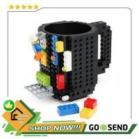 Gelas Mug Lego Build-on Brick - 936SN - Hitam
