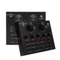 SoundCard V8 Audio untuk HP PC Mac Live Broadcast Karaoke Audio Mixer