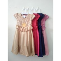 PROMO Dress Anak Perempuan 4-12 tahun Dress Princess Baju Pesta KA64 - Ros Gold, 4-5 Tahun