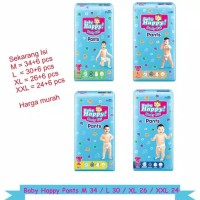 POPOK BAYI/DIAPERS BABY HAPPY BODY FIT PANTS ISI M34/L30/XL26 + 6PC