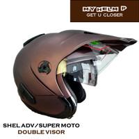 Helm SUPER MOTO SHEL ADV Double Visor Polos Warna Brown Dof