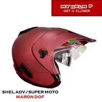 Helm SUPER MOTO SHEL ADV Double Visor Polos Warna Maron Dof