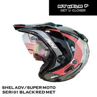 Helm SUPER MOTO SHEL ADV Double Visor Motif 01 Warna Black Red Met