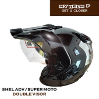 Helm SUPER MOTO SHEL ADV Double Visor Polos Warna brown metalic