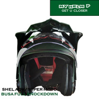 Helm SUPER MOTO SHEL ADV Double Visor Polos Warna Green Army Dof