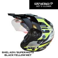 Helm SUPER MOTO SHEL ADV Double Visor Motif 02 Warna Black Yellow Met