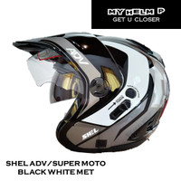 Helm SUPER MOTO SHEL ADV Double Visor Motif 01 Warna Black White Metal