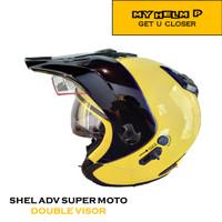 Helm SUPER MOTO SHEL ADV Double Visor Polos Warna YELLOW Metalic
