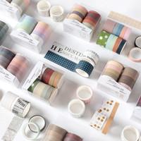 Washi Tape set of 10pcs / Masking Tape / Selotip Jepang Warna Warni - Motif A